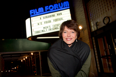 Dr. Harriet Fields in front of the Film Forum marquee.