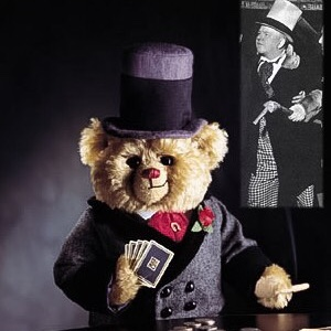 W.C. Fields Collectible Cooperstown Teddy Bear sitting at poker table holding cards.