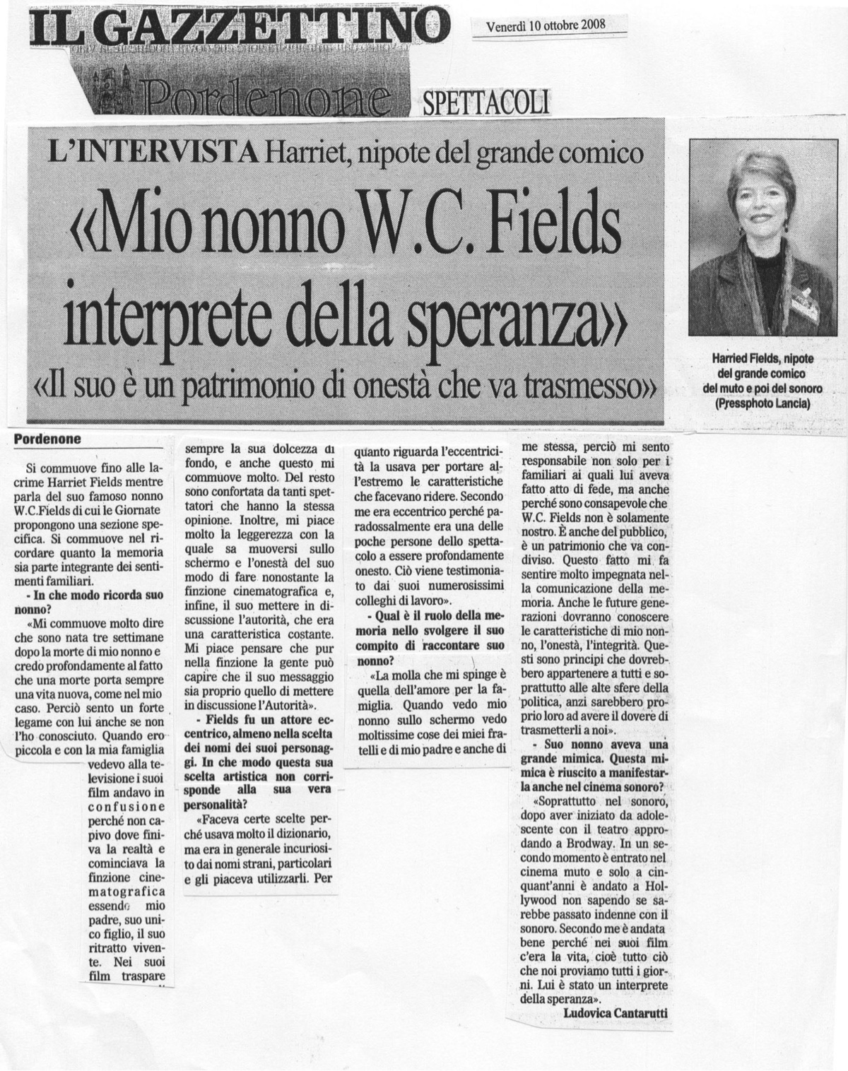 Il Gazzettino article clipping on W.C. Fields
